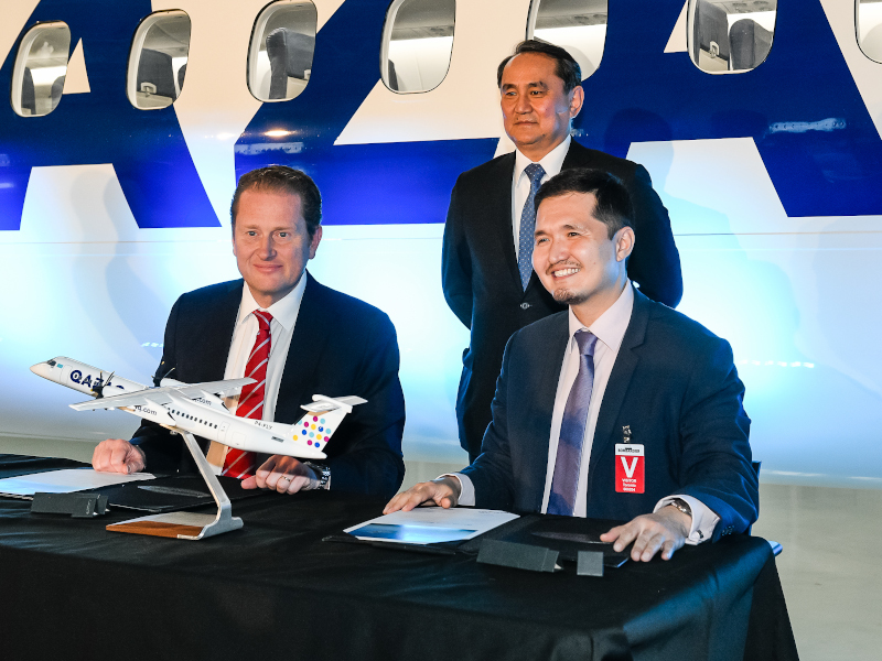 Bombardier delivered a Q400 airliner to Qazaq Air in April 2019. Credit: Bombardier.