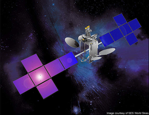 SES-4 is equipped with solar panels and an FS 1300 satellite bus.