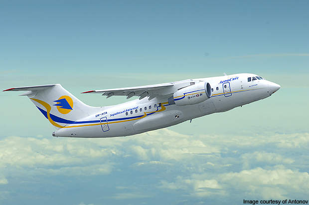 The Antonov An-148 is a twin-engine regional passenger aircraft.