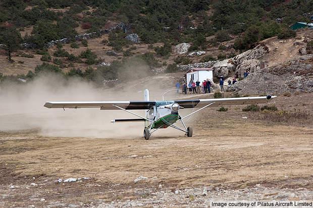 PC-6 taking off in Nepal.