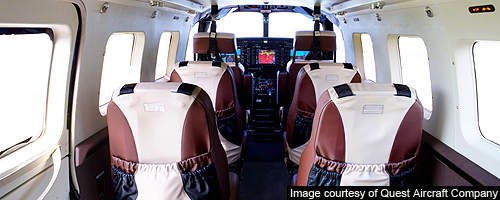 The Quest Kodiak is fitted with a Garmin 1000 avionics suite and PAX seats.