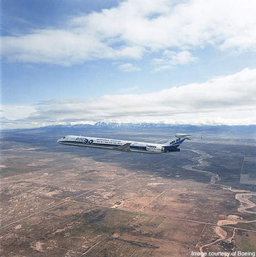 The MD-90 flying over California during the flight test in 1993.