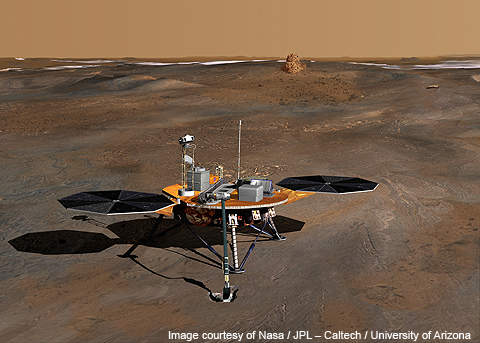 An artist's impression of the Phoenix Mars lander on the surface of the red planet.