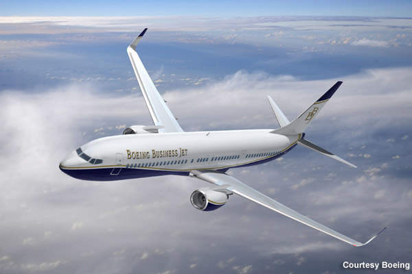 BBJ3, the newest member of the Boeing Business Jet flies at 41,000 feet altitude.