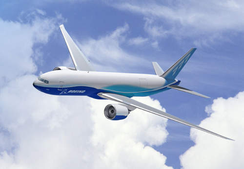 The Boeing 777F freighter is based on the 777-200LR Worldliner passenger aircraft and includes a state-of-the-art flight deck, fly-by-wire system, advanced wing and raked wingtips.