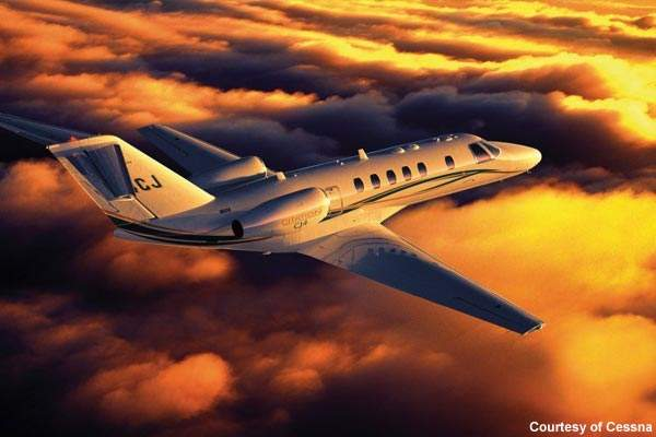 The Citation CJ4 business jet first took flight as a production model on 19 August 2008.