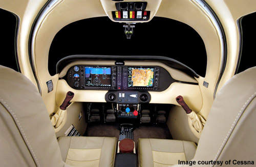 The flight and engine control for both the Cessna 350 and 400 is displayed by the Garmin G1000 avionics system.