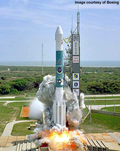 A GPS satellite launches off the back of the same Delta II rocket used to launch WorldView-1 into space.
