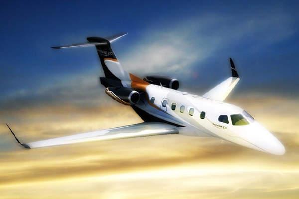 The Embraer Phenom 300 light business jet.
