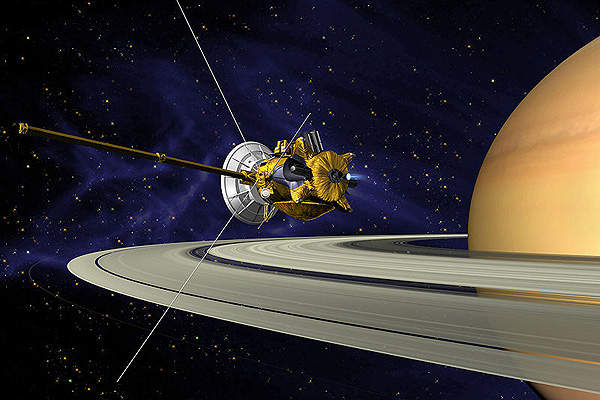 Cassini-Huygens is a space mission aiming to study the planet Saturn and its satellites. Pictured is an artist's impression.