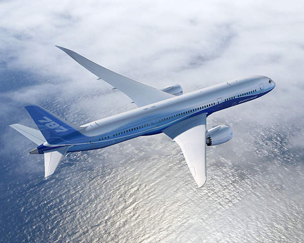 Boeing's 787-9 Dreamliner is a slightly bigger variant of the 787-8 aircraft. Image courtesy of Boeing.