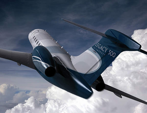 The Legacy 500 is a medium size business jet. Image courtesy of Embraer Executive Jets.