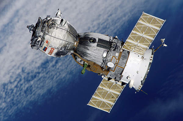 The Soyuz spacecraft is docked to the International Space Station.