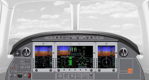 The Eclipse 500 is fitted with an all glass cockpit and the Avio NG avionics suite.