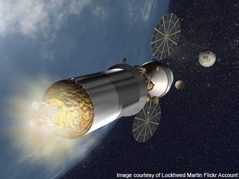 Artist's rendering of the Orion exploration vehicle in space.