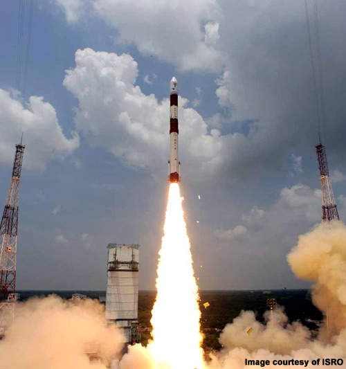 PSLV-C14 is 44.4m high and weighed 230t at lift-off.