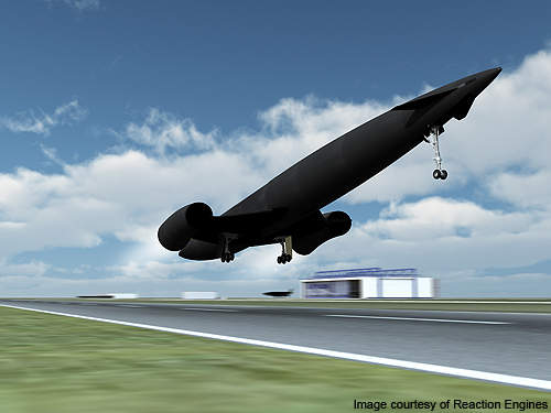 Artistic rendering of Skylon during its take-off from concrete runway.