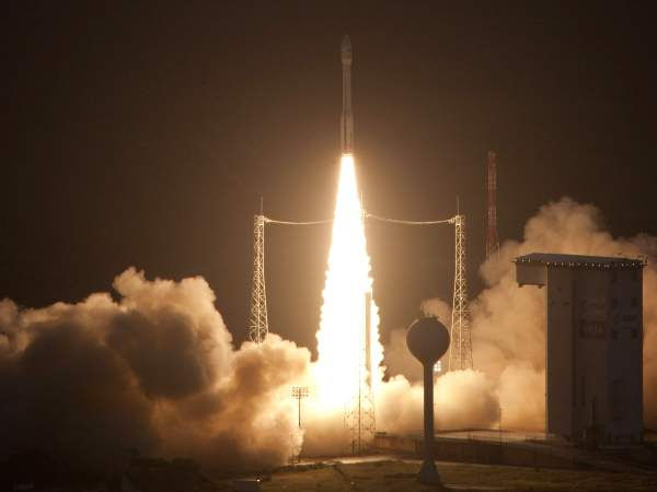 Vega taking off from Europe's spaceport in Kourou, French Guiana, on its maiden flight on 13 February 2012. Image courtesy of ESA - S. Corvaja, 2012.