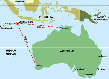 Christmas Island is off the north west coast of Australia.