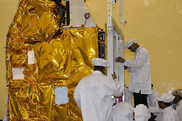 The Mars Orbiter Mission (MOM) spacecraft was designed and developed by ISRO. Image courtesy of ISRO.