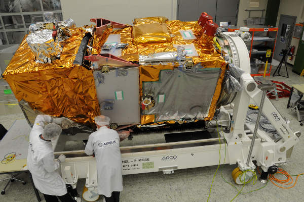 Sentinel-2A satellite will provide images of the Earth's land masses. Image courtesy of Airbus DS /A. Ruttloff.
