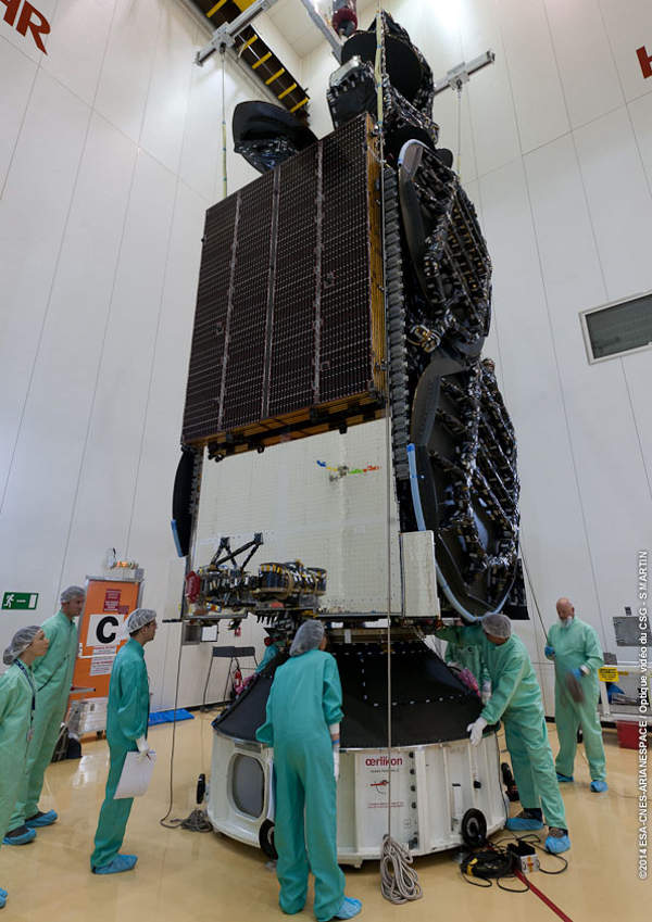 ISDLA-1 satellite was launched in October 2014. Image: courtesy of Arianespace.