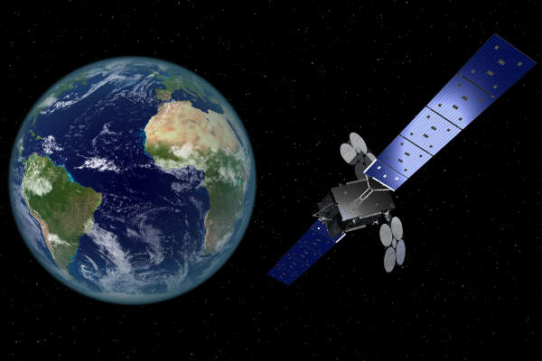 Artist's rendering of Al Yah 3 communications satellite. Image: courtesy of Yahsat.