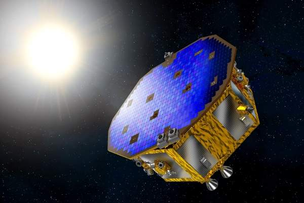 An artist's impression of the LISA Pathfinder spacecraft. Image: courtesy of ESA–D Ducros.