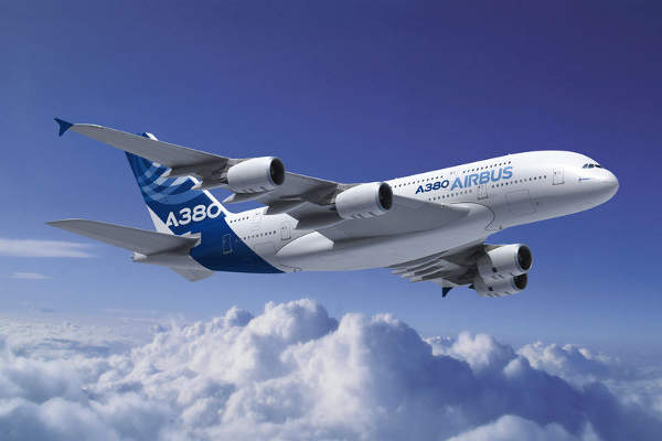 A380-800 aircraft developed by Airbus is the largest aircraft in the world to date with an 853 passenger seat capacity. Image courtesy of Airbus.
