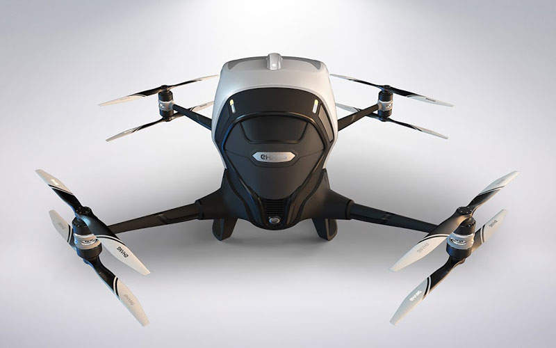 EHang launched the 184 autonomous aerial vehicle (AAV) at CES in January 2016. Image: courtesy of EHang, Inc.