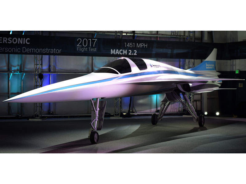 The XB-1 supersonic demonstrator aeroplane was introduced in November 2016. Image courtesy of Boom Technologies.