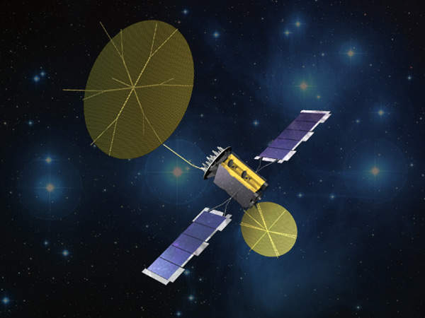 An artist's rendering of the MUOS satellite.