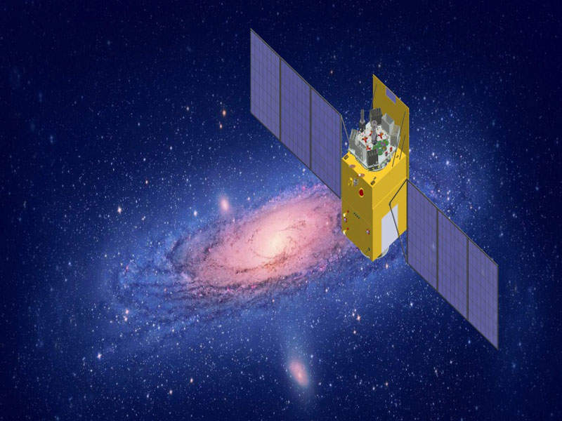The Hard X-ray Modulation Telescope (HXMT) satellite is the first astronomical satellite developed by China. Image: courtesy of Institute of High Energy Physics (IHEP).