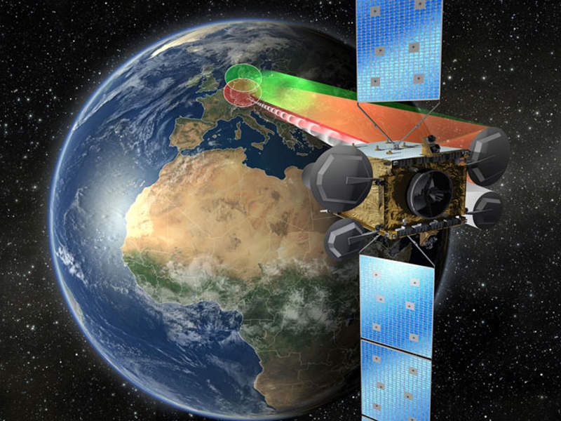 Artist's rendering of Germany's Heinrich Hertz communications satellite. Image courtesy of OHB.