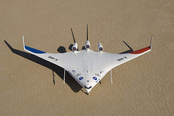 The X-48 is an investigational unmanned aerial vehicle (UAV).