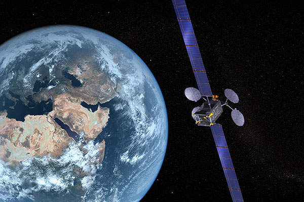 An artist's rendering of the ABS-3A satellite. Image courtesy of Boeing.