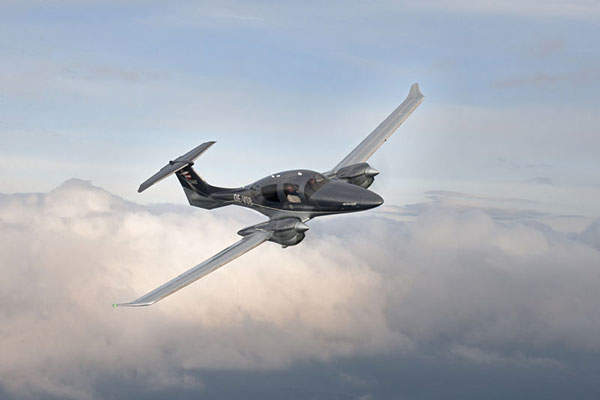 The DA62 twin-engine light aircraft is manufactured by Diamond Aircraft Industries.