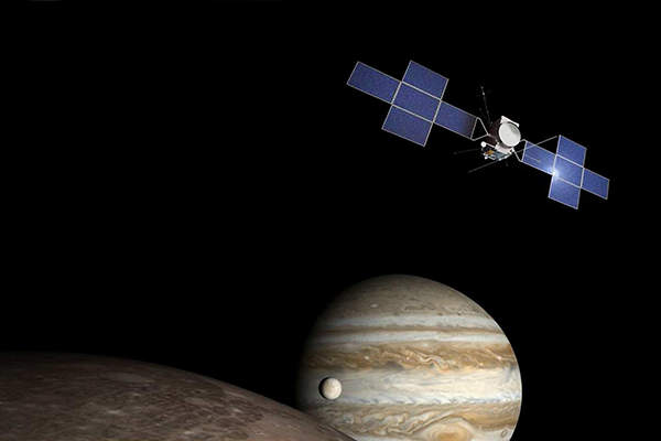 The Jupiter Icy Moon Explorer (JUICE) will study the Jupiter's Galilean moons Ganymede, Callisto and Europa. Image: courtesy of Airbus DS.