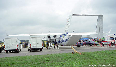 The rear view of the aircraft from where the cargo can be loaded or unloaded.