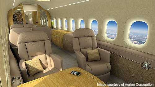 The Aerion SBJ cabin is fitted with 12 seats.