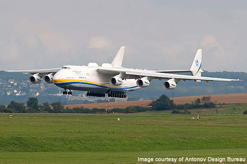 An-225 is fitted with a 32-wheel landing gear system.
