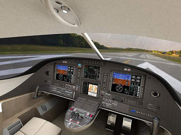 The digital flight deck of the S-40, which features the Honeywell Primus Apex avionics suite. Image courtesy of Spectrum Aeronautical.