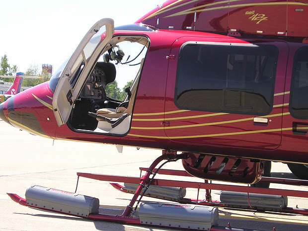 The Bell 427 helicopter's cockpit features an integrated instrument display system.