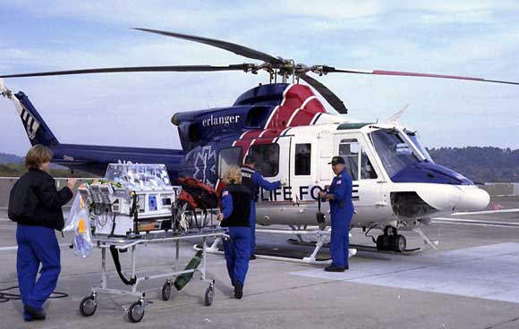The 412 in use as an air ambulance by Erlanger Life Force of Tennessee.