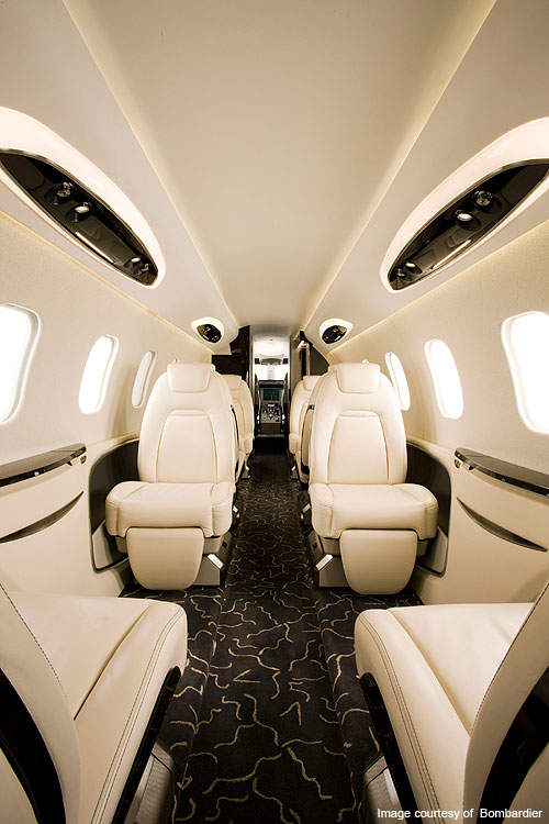 The cabin of Learjet 85 is large and spacious.