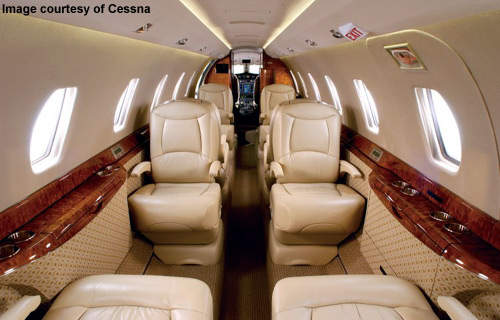 In its typical configuration the Citation X carries up to eight passengers and two pilots.