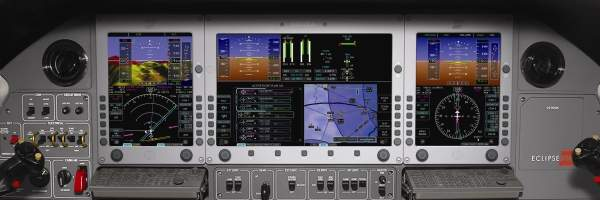 The cockpit is fitted with synthetic vision and enhanced vision systems. Image courtesy of Eclipse Aerospace.