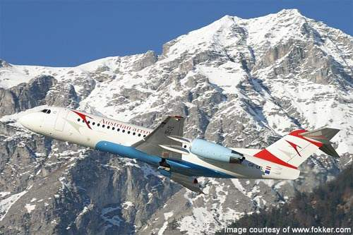 The first Fokker 100 was delivered to its launching customer, SwissAir, in February 1988.