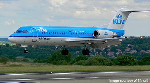 An F70 of KLM Cityhopper landing at the Bradford International Airport, UK.