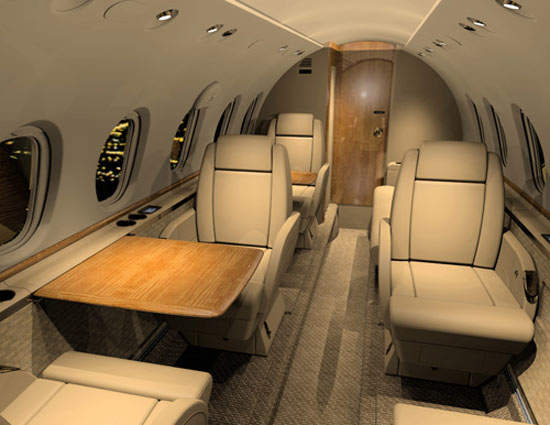The 5ft 9in-high, 6ft-wide cabin of the Hawker 750 allows easy movement during the flight.